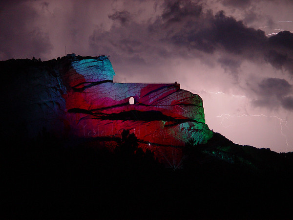 A lightning storm erupts over Crazy Horse Mountain in the Black Hills of South Dakota.